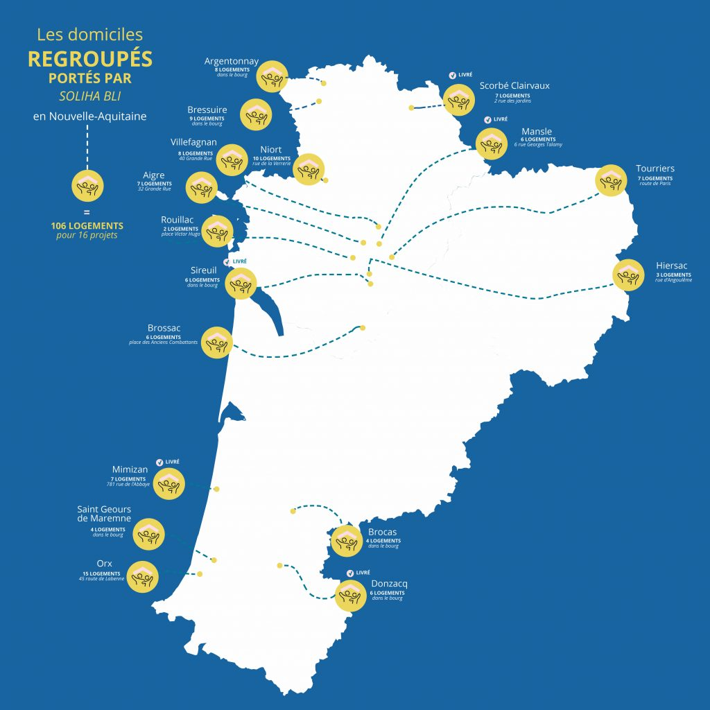 Cartographie des domiciles regroupés ;SOLIHA Nouvelle Aquitaine . Newsletter 7